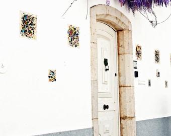 Portugal Photography - Door Photograph - Wisteria Print - Portuguese Wall Decor White Purple Photo Travel Photography Mediterranean Wall Art