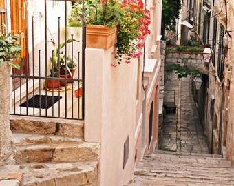 Dubrovnik Croatia Photography - Mediterranean Decor - Old City Street Photo - Flowers Travel Art Pink Peach Print European Wall Art