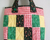 Small Quilted Tote Bag - Calico Print Patchwork