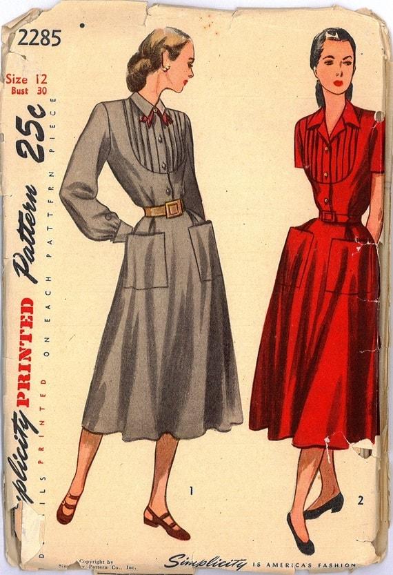 2285 UNCUT 1940's Women's Dress Vintage Sewing Pattern Simplicity 2285 Bust 30