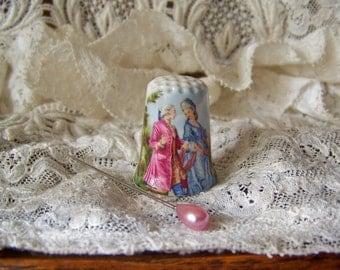Vintage Thimble English Couple Fiedler Keepsake Thimble Collector Vintage Sewing Room Vintage 1990s