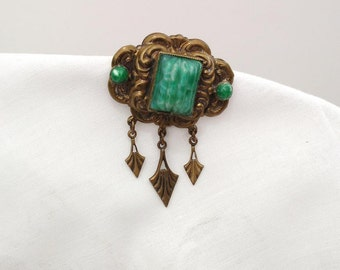 Antique Pin | Victorian Brooch | Egyptain Rivival Jewelry | Scarab Pin | Peking Glass Beaded Pin