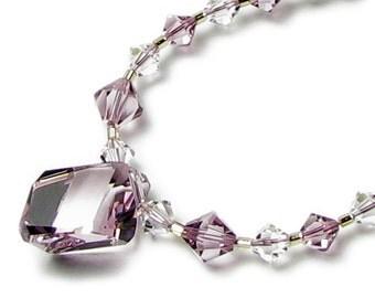 Stardust Light Amethyst Swarovski Crystal Necklace, Gift For Women, Elegant Wedding Day Jewelry, 14K Gold Filled Pendant, Floating Drop Bead