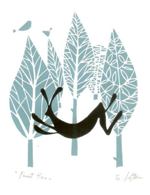 Hare Print - Woodland - Linocut Printmaking Art - Forest Animal Print -  Rabbit - Original Signed - Robins Egg Blue and Black