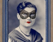 Mask Art Print, Mixed Media Collage Print, Portrait of a Party Girl, Altered Antique Photograph, frighten, Halloween Decoration