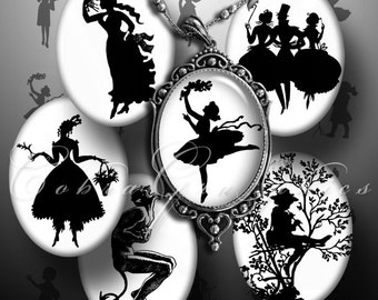 Silhouettes - 30x40mm and 22x30 mm ovals - Digital Collage Sheets CG-491 - for Jewelry, Crafts
