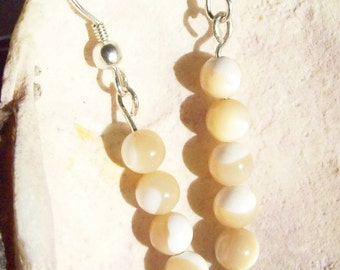 Shell Bead Earrings, White and Tan Shell Rounds  ID 120