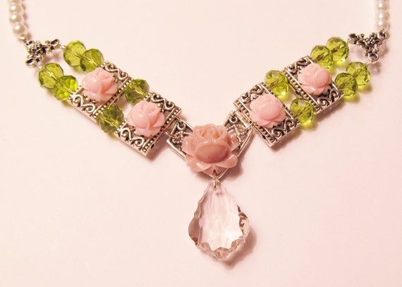 Pink Baroque Crystal Pendant Surrounded by Pink Roses, Pale Green Crystals and Pearls Necklace - CIJ Christmas in July SALE