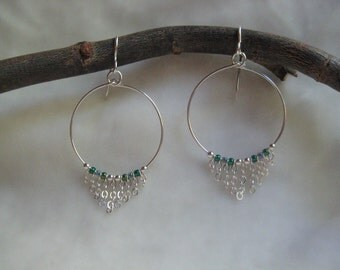 Earrings - Hoop with Dangling Sterling Silver Chain, Blue and Green Glass ,and Sterling Silver Beads  - Jewelry by Jyoti McCall