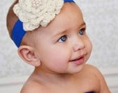 Ivory Flower Headband Baby Headband, Newborn Headband, Toddler Headband, Infant Headband, Baby Hair Accessory, Baby Girl Headband