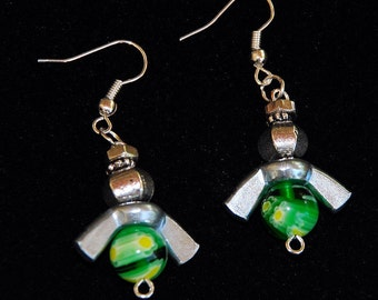 ANGEL EARRINGS DANGLE Green Tibet Silver Wing Nuts Murano Glass Special  Unusual whimsical Sassy Funky Dare to Wear