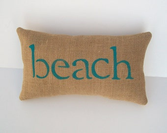 beach pillow, nautical decor, burlap accent pillow, aqua blue pillow, beach, nautical nursery decor, beach home decor by whimsy sweet whimsy