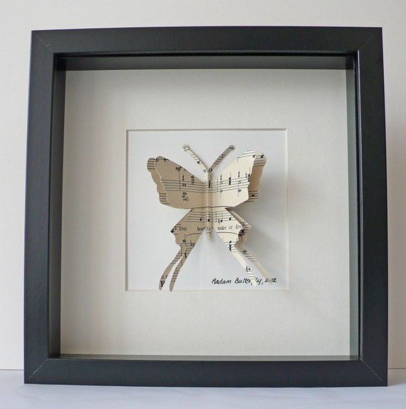MADAM BUTTERFLY - made from Vintage Sheet music // handmade in England // FRAMED