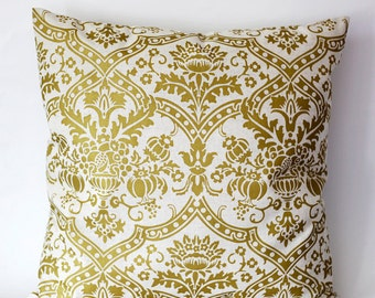 Pillow cover solid gold damask print on decorative covers - throw pillows - shams - 18x18