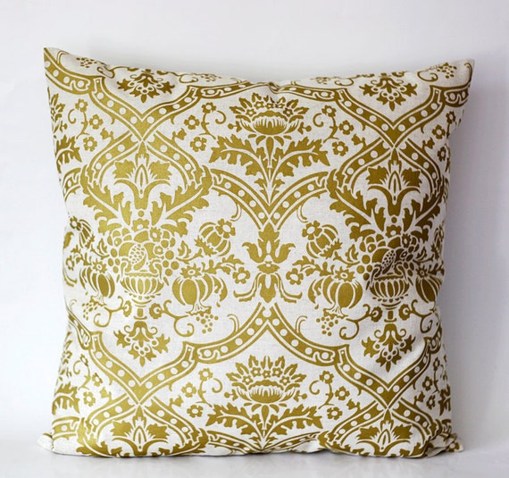 Gold Damask Throw Pillow : Decorative pillow cover solid gold damask print on decorative