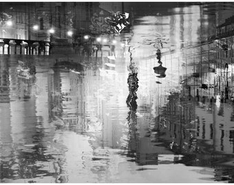 Extra large wall art, Black and white photography, abstract print, city art, oversized art, surreal Night lights, 20x30,24x36, St Petersburg