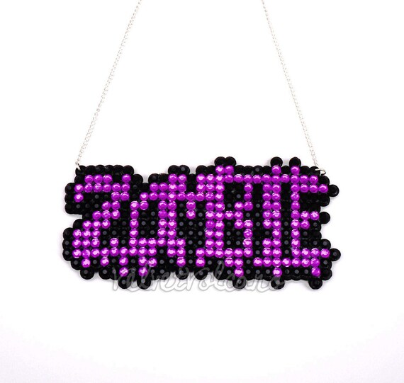 Spooky Horror Zombie Necklace - You Choose Your Colours - Psychobilly - Rockabilly - Halloween - Sparkle / Sparkly