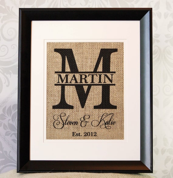 Personalized Wedding Gift - Burlap Monogram