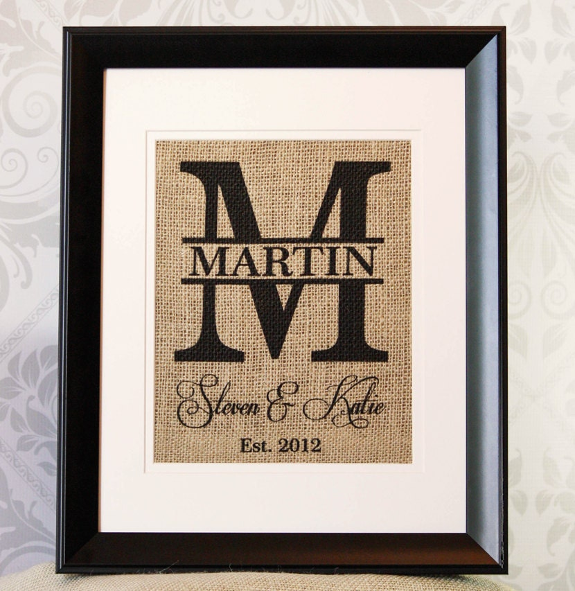 Monogrammed Wedding Gift Ideas: Personalized Wedding Gift Burlap Monogram By 33marketstreet
