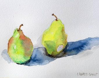 "Watercolor of scrumptious pears digital fine art print of original watercolor painting 9"" x 12"",  Green Pears by Lauren Grant"
