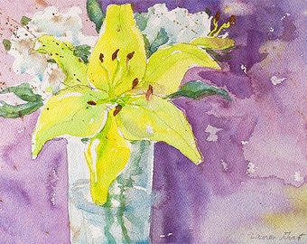 "Original flower watercolor painting lively colors on Arches watercolor paper 9"" x 12"" Yellow Flowers Purple Background"