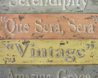 Rustic Cottage Word Inspirational prints. Retro distressed decor look. Choose one. Peach, yellow, green, blue