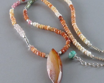 Mexican Fire Opal Necklace Carnelian Turquoise Sterling Silver Bead DJStrang Boho Cottage Chic Gemstone