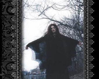 """Sheer Black Chiffon Scalloped Batwing Gothic Overdress by original Kambriel label """"Atrocities"""" - Ready to Ship!"""