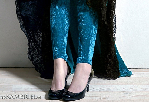 Peacock Teal Blue Crushed Velvet Leggings by Kambriel - Brand New & Ready to Ship!