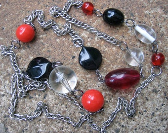 Eco-Friendly Statement Necklace - Film Noir - Recycled Vintage Steel Curb Chain with Clear, Red and Black Beads in Various Shapes and Sizes