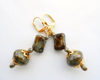 Antique Green Picasso Earrings On Gold