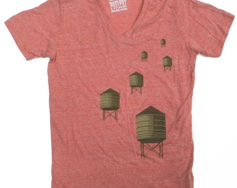 V-Neck Water Towers T-Shirt in Heather Orange  for Women and Men XL