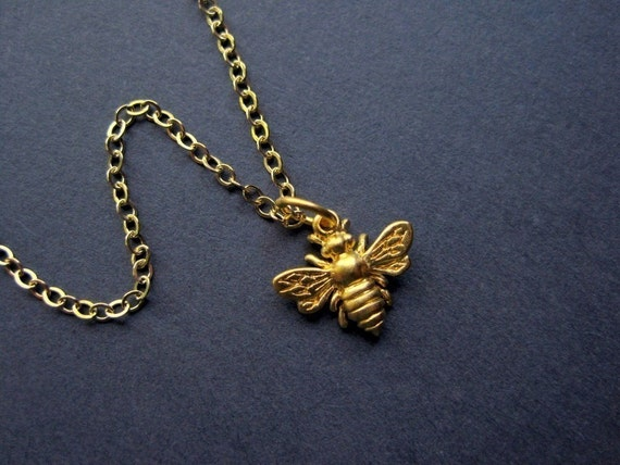 Gold Bee Necklace - Vermeil Bee Necklace - Tiny Bee Necklace - Insect Jewelry