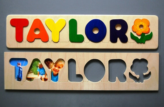 Wooden NAME PUZZLE with FLOWER - Hand Made - a fun and educational shower gift, birth gift, first birthday gift or Christmas gift for girls