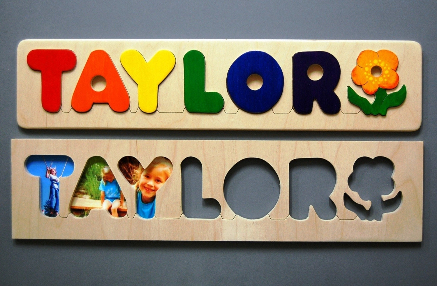 Wooden NAME PUZZLE with FLOWER Hand Made a fun and