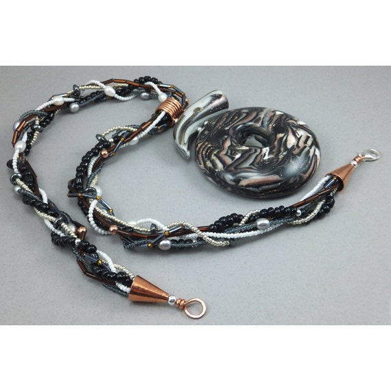 Handcrafted Donut Statement Necklace - Black Copper Metallic Choker No. 168