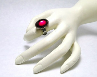 Red Ruby Ring Ornate Gothic Victorian Style Adjustable Finger Ring Size 6 to 8