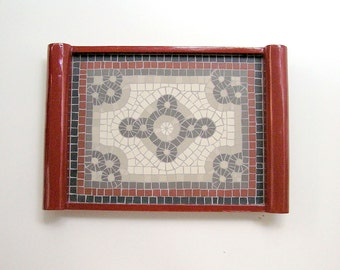 Red wooden serving tray with handmade mosaic art- ceramic tiles