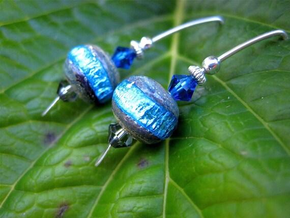 Caribbean Wave Earrings - Handmade Lampwork Glass Beads, Swarovski Crystals & Sterling Accents w Modern Handmade Sterling Silver Ear Wires