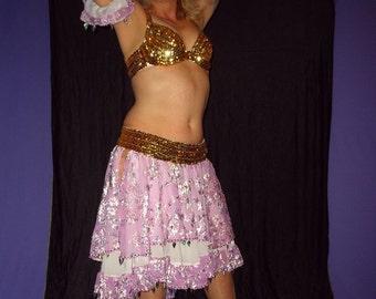 Gypsy Costume, Belly Dance Costume, Ruffle Circle Skirt, Sequin Belly Dance Skirt, Velvet Belly Dance Skirt, Sale, Pink Belly Dance Skirt
