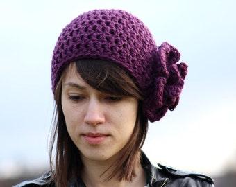 Crochet Women's Beanie Hat with Flower Purple Adult Crochet Flower Hat