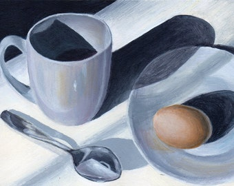 Original Acrylic Kitchen Still Life Painting, Minimalist White Decor 5x7 Kitchen Art Breakfast Room