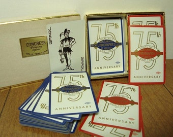 Playing Cards 1957 Union 75th Anniversary NY 2 Vintage Card Decks Souvenir Lithographers