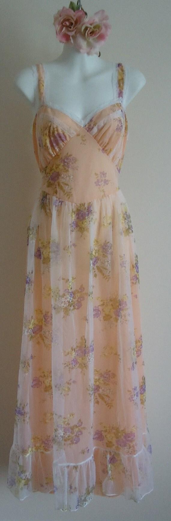 Vintage Nightgown, Vintage Nightgowns, 1950s Nightgown,  White Chiffon Nightgown,  White Floral Nightgown, Nightgown, Wedding, Romantic