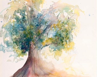 Watercolor painting Heart tree of love personalize print Christmas Gift Heart Tree Lover Carve her/his Initials 11x14 watercolor giclee tree