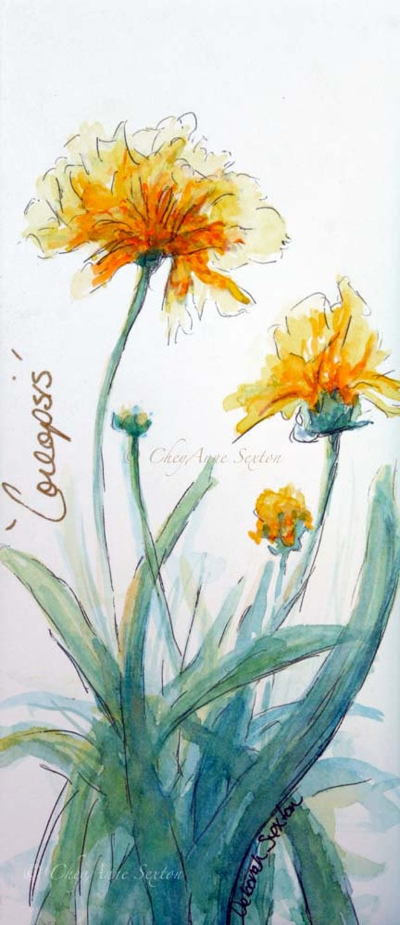 watercolor art print Butter Yellow Coreopsis -  watercolour panoramic giclee