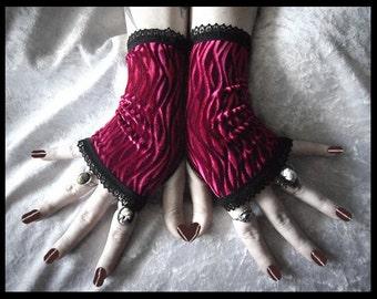 Weathering Rose Elegant Velvet Fingerless Gloves - Rich Burgundy Wave Crinkle - Gothic Lolita Vampire Victorian Mourning Wedding Goth Fetish