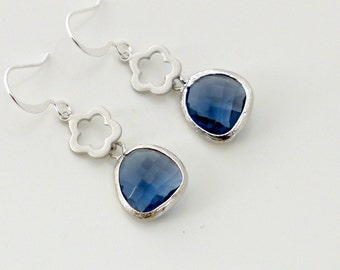 Crystal earrings, blue earrings, dainty flower silver Montana blue crystal dangle, everyday jewelry, holidays gift, by balance9