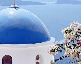 Santorini Photography - Blue Dome Church Art Greece Photography Greek Islands Photo Cobalt Blue Decor Print Mediterranean Decor
