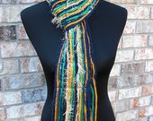 Notre Dame Fighting Irish Inspired Skinny Scrappy Scarf - Blue, Gold & Green - Handmade (MADE TO ORDER)